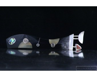 Silver Hair Barrette with jasper and mother-of-pearl