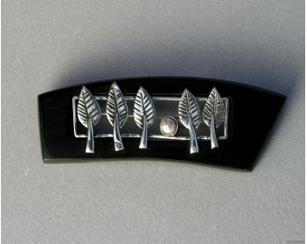 Sterling silver hair barrette forest