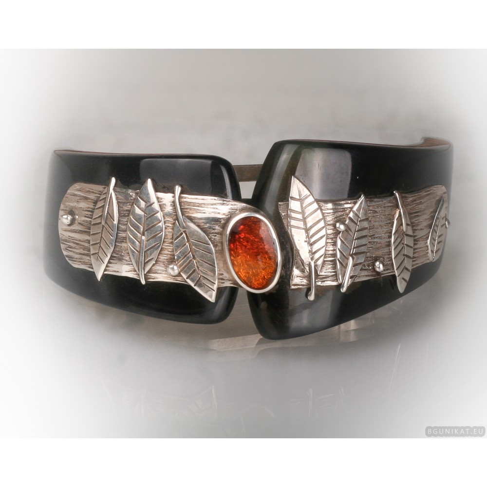 Unusial sterling silver hair barrette with amber