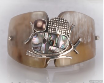 Unusual sterling silver hair barrette with mother-of-pearl and pearl