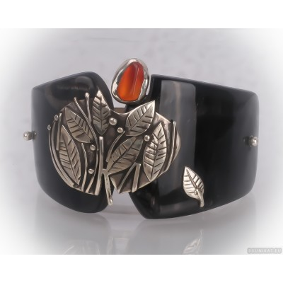 Unusual sterling silver hair barrette with carnelian