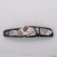 Sterling silver hair barrette with genuine citrine
