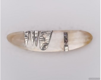 Sterling silver hair barrette with mother-of-pearl