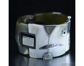 Sterling silver bracelet bangle unique one of a kind 224