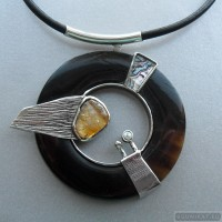 Sterling silver necklace with citrine 782