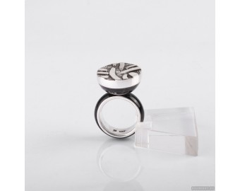 Sterling silver abstract ring with horn 847