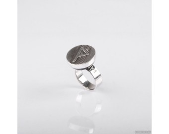 "925 Sterling Silver Ring With Celtic Rune ""Wynn"" 842."