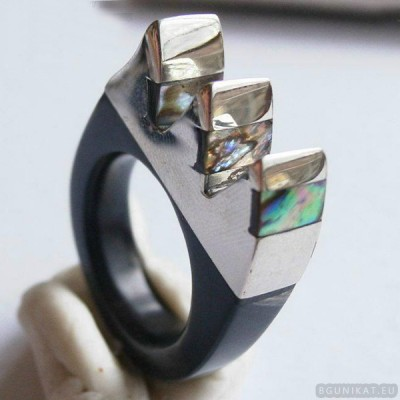 Sterling silver ring with horn 33