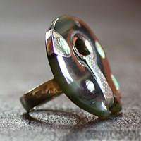 Sterling silver ring with horn 455