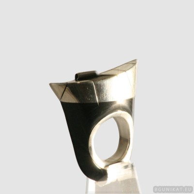 Sterling silver ring with horn 568