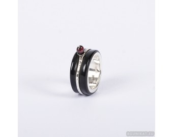 Wedding ring with sterling silver and garnet inlay. Men Wedding Band. Wedding Rings. Unisex Ring. Unusual wedding ring 792.