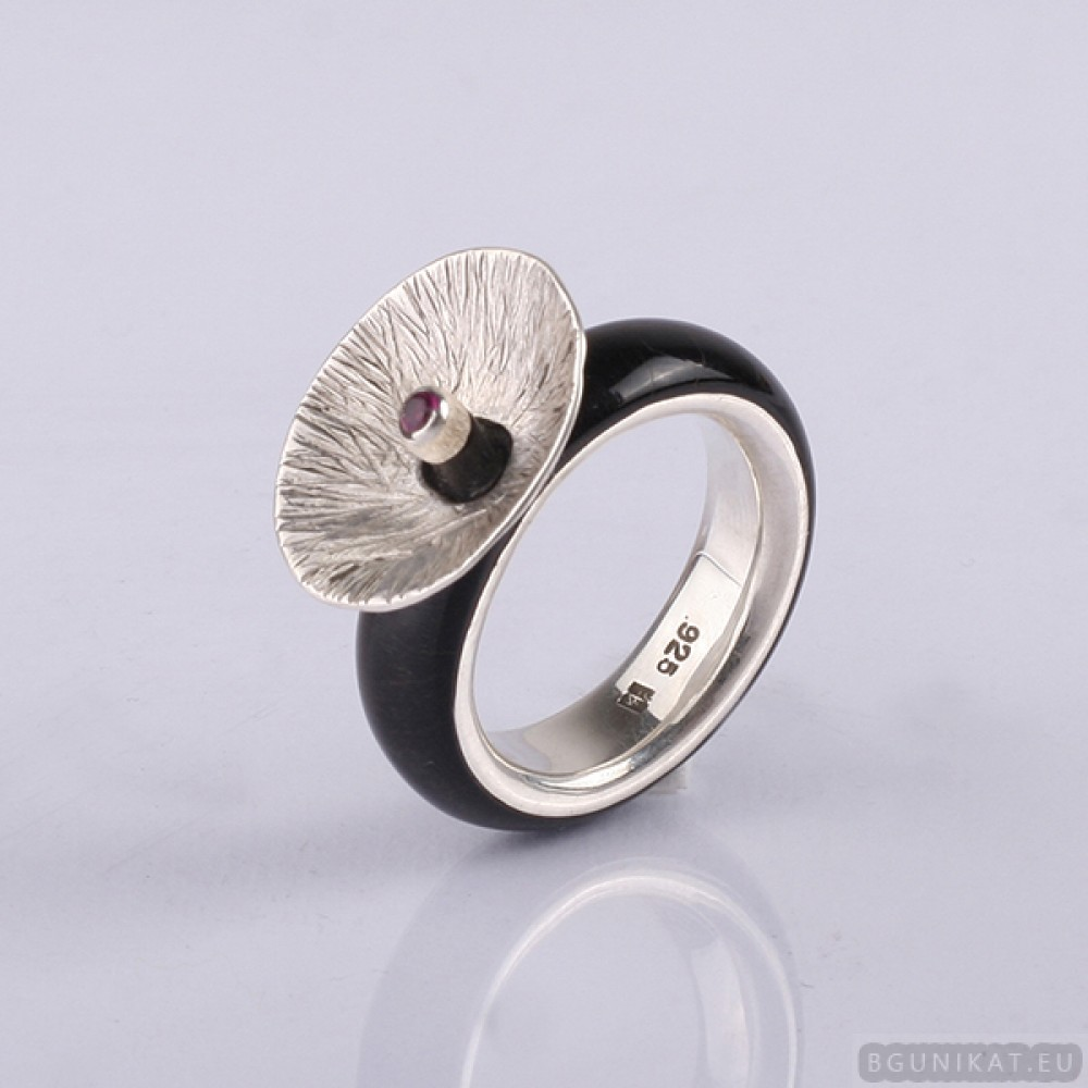 Wedding Ring With Sterling Silver And Ruby Men Band Rings