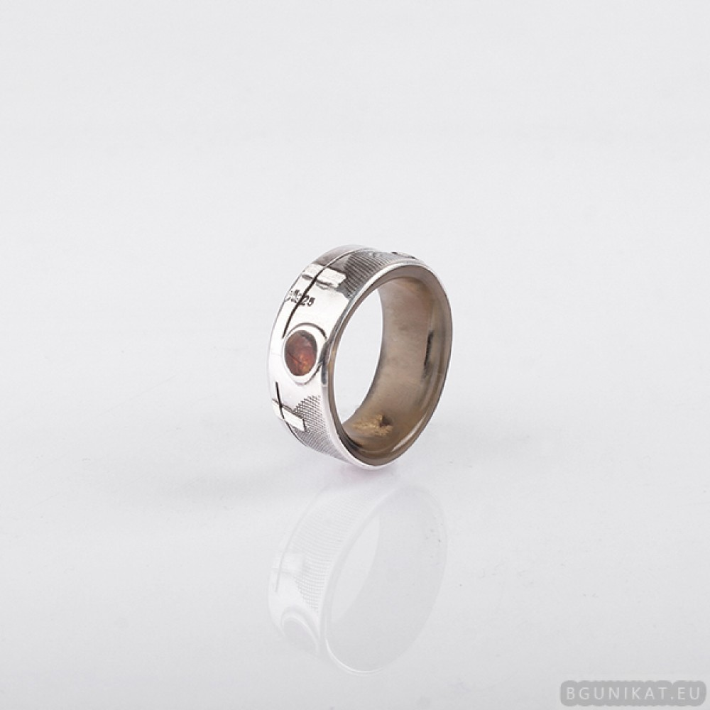 ring with sterling silver amber and gold inlay Men Wedding Band