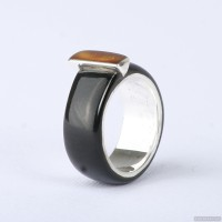 Wedding ring with sterling silver,  amber and gold inlay. Men Wedding Band. Wedding Rings. Unisex Ring. Unusual wedding ring 793.