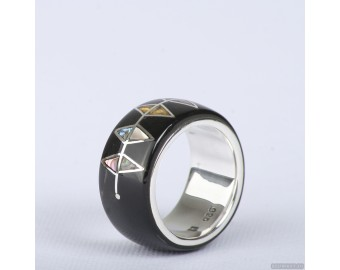 Wedding ring with silver 925,  mother-of-pearl, amber and gold inlay. Men Wedding Band. Unisex Ring. Unusual wedding ring 794.