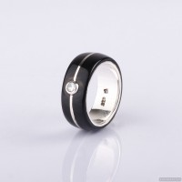 Wedding ring with sterling silver and zircon inlay. Men Wedding Band. Wedding Rings. Unisex Ring. Unusual wedding ring 796.