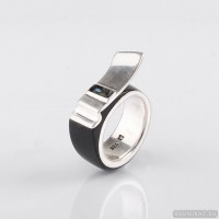 Wedding ring with silver 925,  mother-of-pearl and horn. Men Wedding Band. Wedding Rings. Unisex Ring. Unusual engagement ring 803.