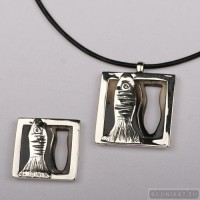Sterling silver jewelry set fish 552