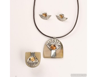 Sterling silver jewelry set with genuine citrines  693