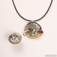Sterling silver jewelry set with coral, jasper 698