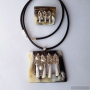 Sterling silver jewelry set forest