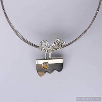 Sterling silver necklace with citrine 406