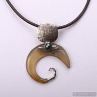 Sterling silver necklace with horn and pearl 653