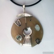 Sterling silver necklace with horn, pearl and mother-of-pearl 773